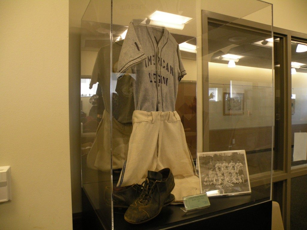 1940s baseball display in the sophomore commons
